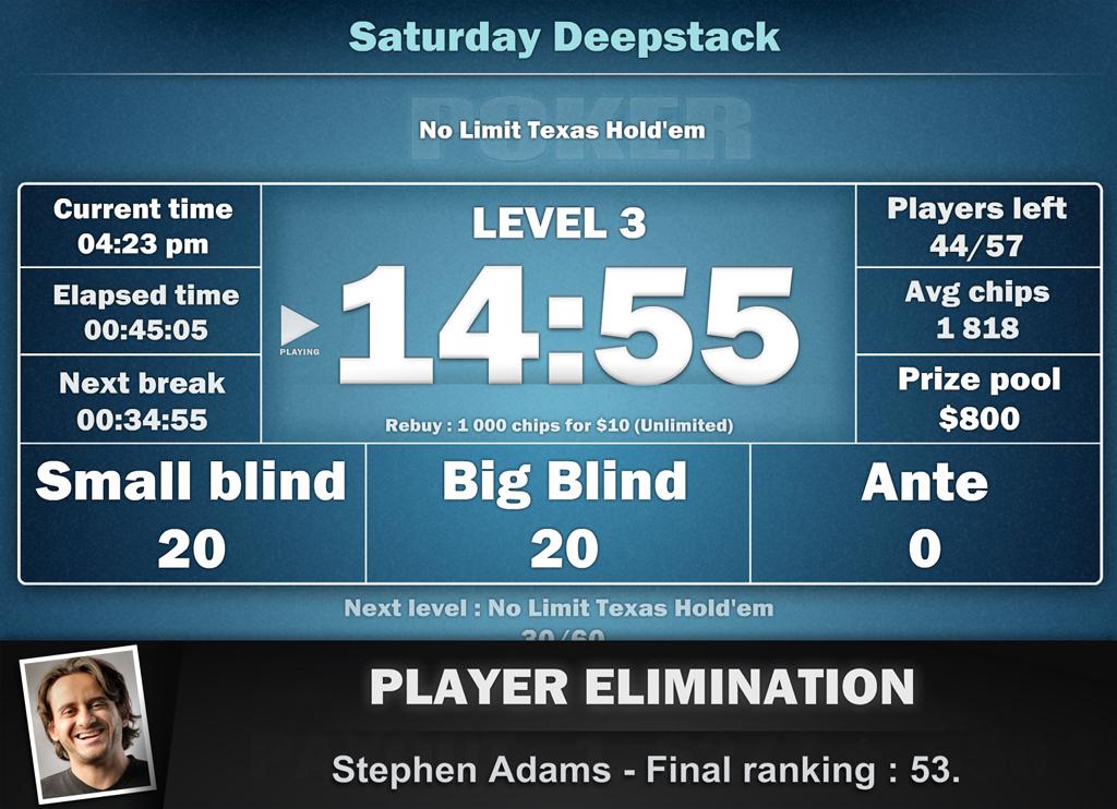 Click to view Poker Tournament Supervisor 2.1f screenshot